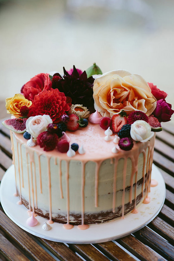 Wedding Cake With Pink Drip Icing