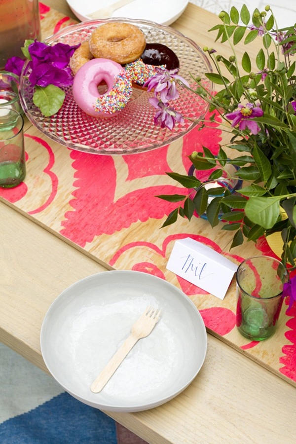 Simple Place Setting At Colorful Bridal Shower
