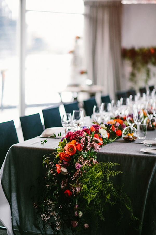 Grey Tablescape With Floral Garland