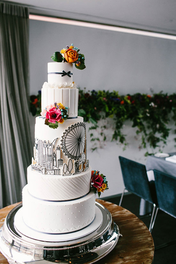 White Wedding Cake With Drawings