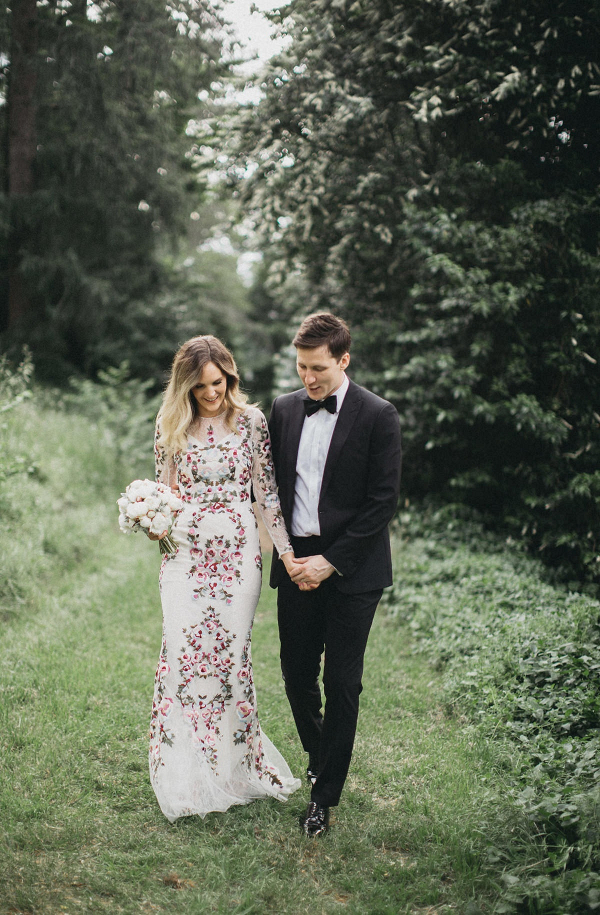 Floral print wedding dress