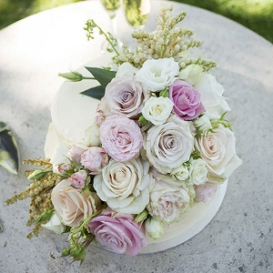 Wedding Cake With Pastel Roses