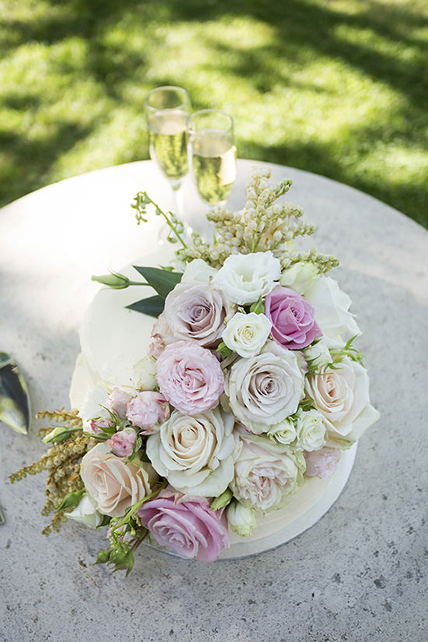 Wedding Cake With Pastel Roses