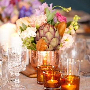 Copper Tablescape With Artichoke Hearts