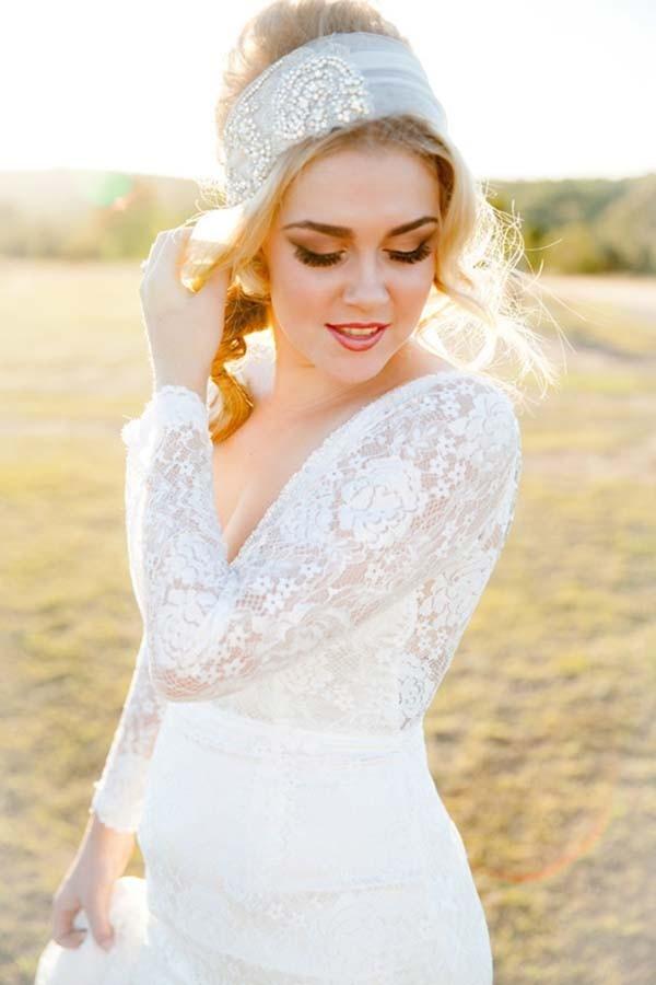 Bride Wearing Long Sleeve Wedding Gown