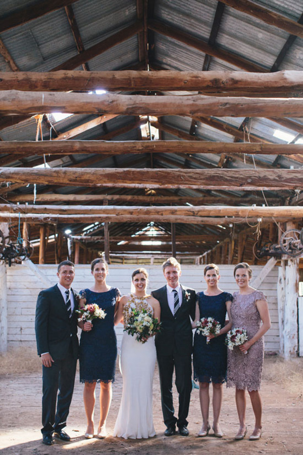 Bridal Party In Barn