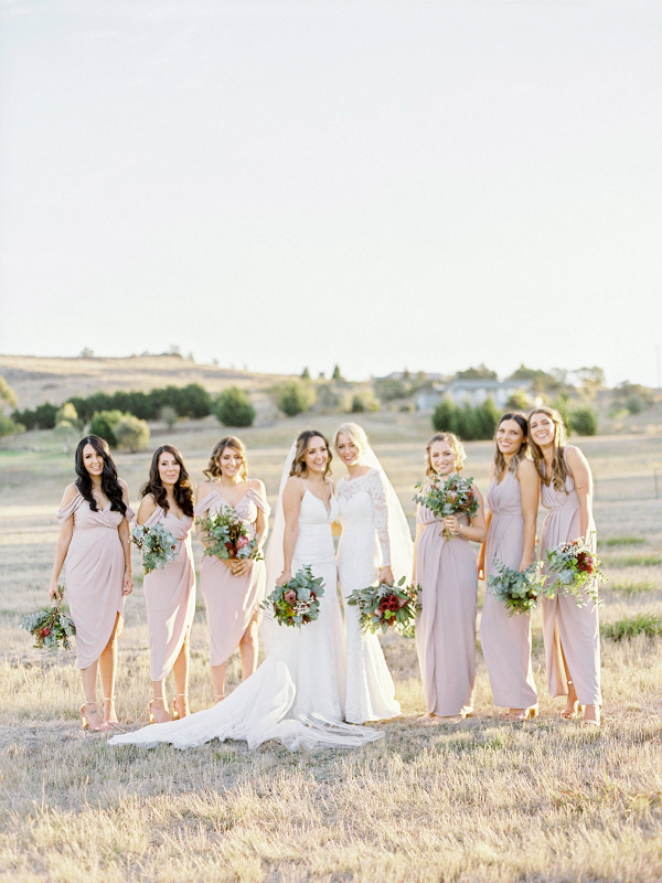 Bridal party in light taupe dresses
