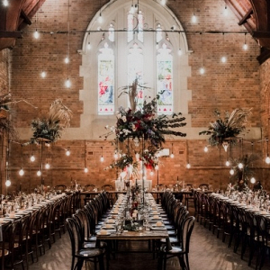 Dramatic boho wedding reception