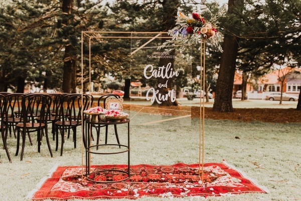 Boho acrylic wedding signage