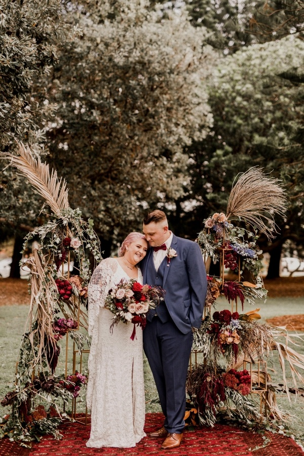 Boho wedding ceremony backdrop