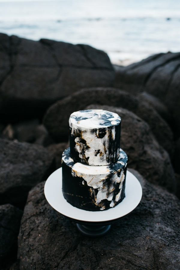 Two Tier Marble Wedding Cake