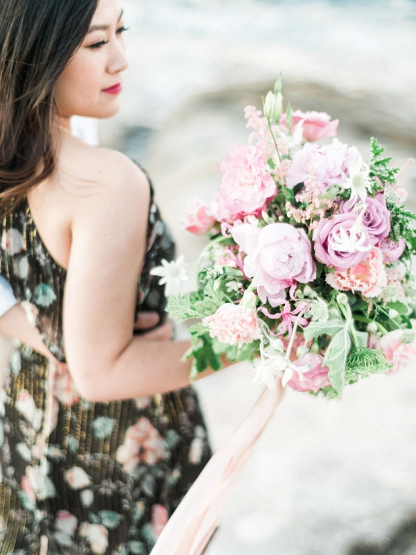 Dreamy Bouquet At Beach Engagement Shoot
