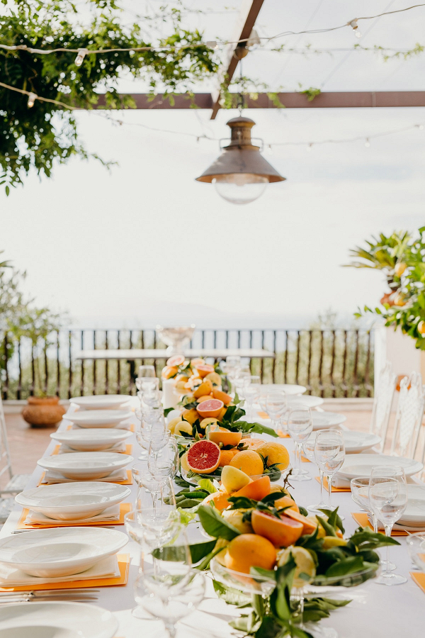 Citrus wedding tablescape