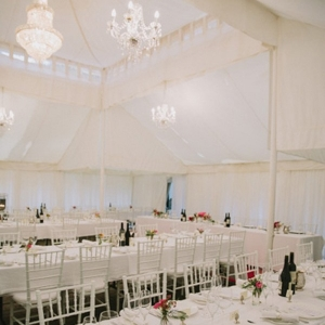 White Wedding Reception With Long Tables