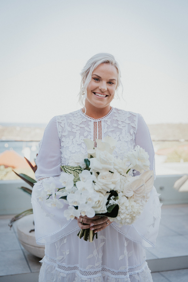 Tropical white bridal bouquet
