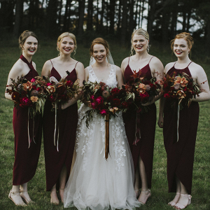 Burgundy bridal party