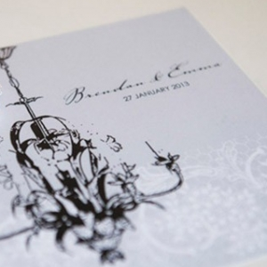 Grey Wedding Invitation With Black Chandelier