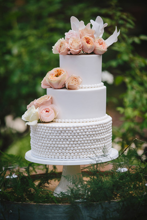 Wedding Cake With Peach Roses