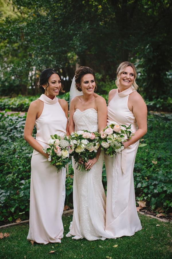 Bridemaids With Halter Neck Gowns
