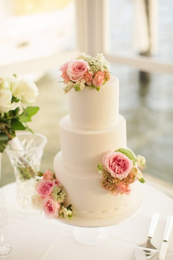 Wedding Cake With Cabbage Roses