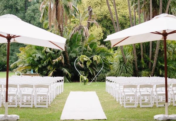 All White Garden Wedding Ceremony