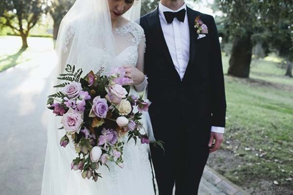 Formal Wedding With Pale Purple Bouquet