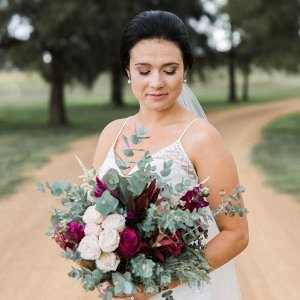 Bride With Marsala Bouquet