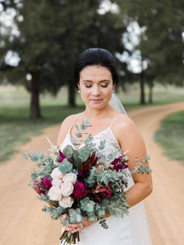 Bride With Marsala Bouquet