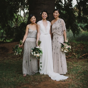 Bride With Bridesmaids In Taupe Gowns