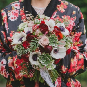 Bride Holding Her Poppy Bouquet