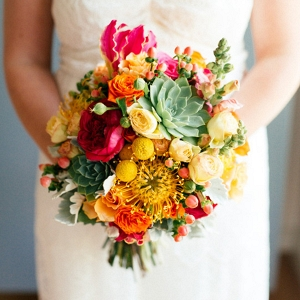 Wedding Bouquet Of Red & Yellow