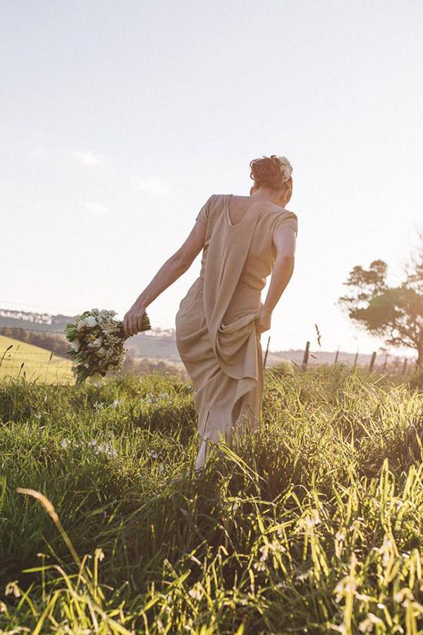 Bride Wearing Olive Vintage Wedding Dress