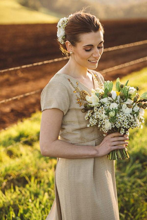 Bride Wearing Vintage Gown