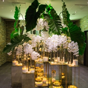 Mirror And Phalaenopsis Orchid Wedding Decor