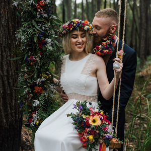Floral filled swing