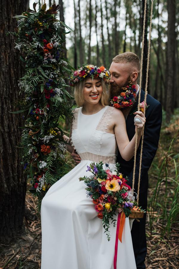 Floral filled swing