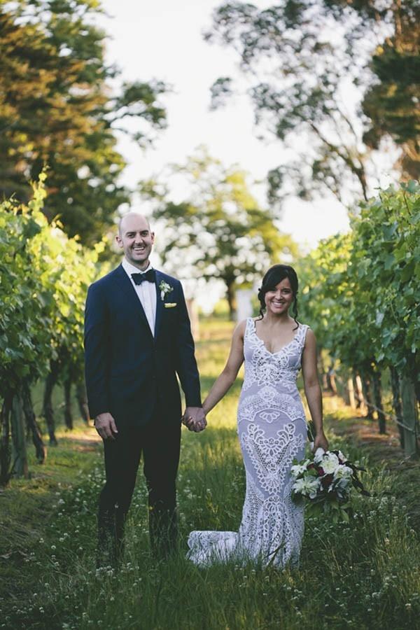 Bride & Groom In Vineyard