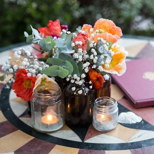 Poppies & Brown Bottle Decor