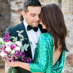 Engagement Photo With Jade Green Sequin Dress
