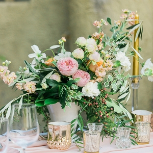 Gold Pink And Peach Centerpiece