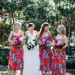 Colorful floral print bridesmaid dresses