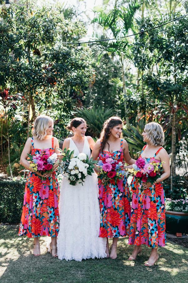 Colorful floral print bridesmaid dresses