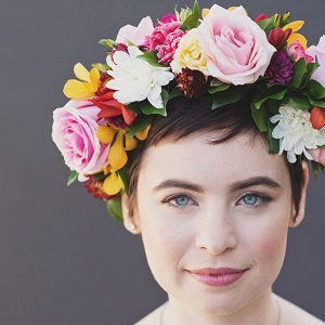 Bride With Colorful Flower Crown