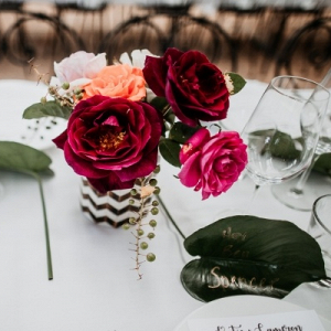 Centerpiece with leaf place card