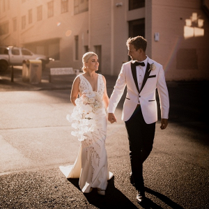 Glam black tie bride and groom