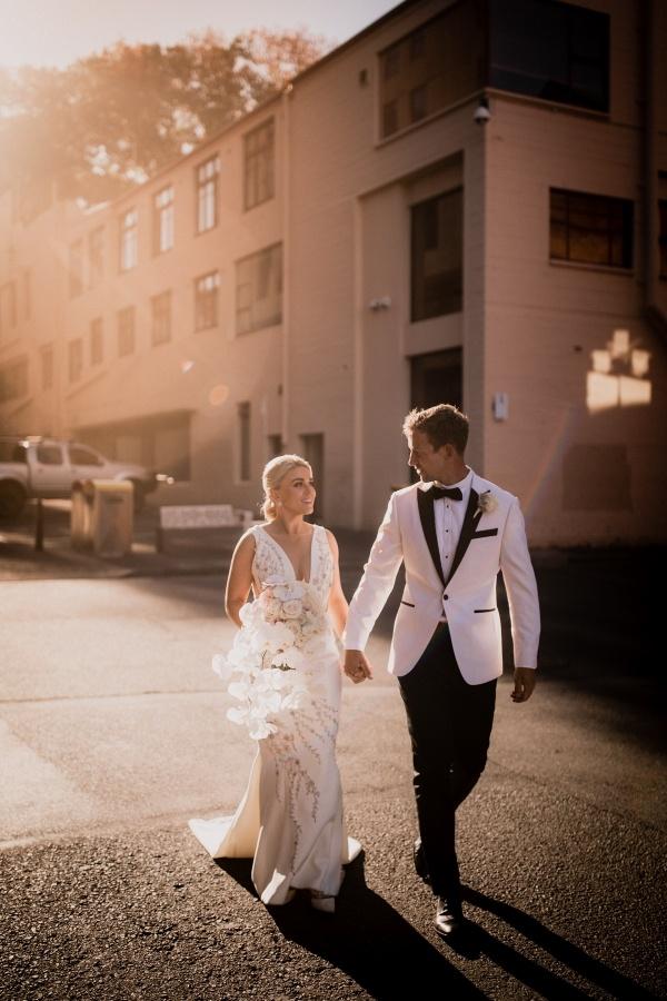 Glam black tie bride and groom