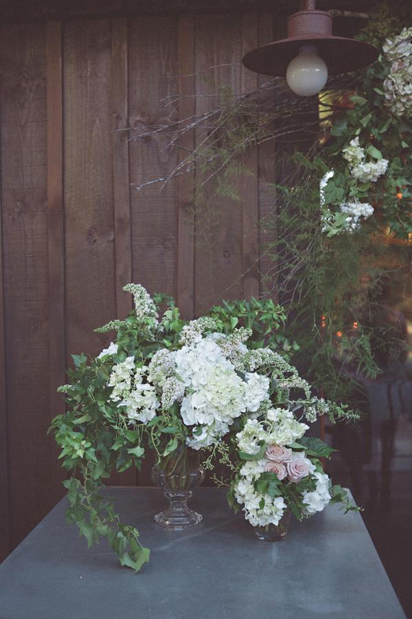 Wedding Arrangement With White Hydrangeas