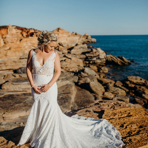 Bride on cliffs