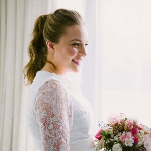 Bride With Ponytail & Pink Bouquet