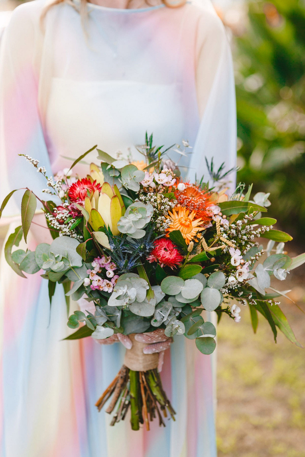 Colorful and wild bridal bouquet
